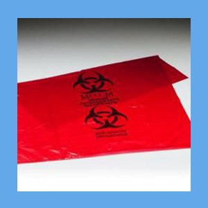 Biohazard Waste Bags, 5-7 GAL, 19x23, 1.25mil  waste bags, infectious, biohazard, polyethylene