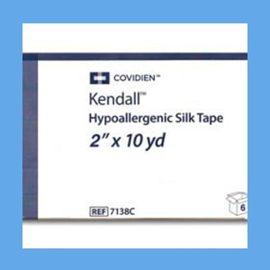 "Covidien (Kendall) Hypoallergenic Silk Tape, 2"" x 10 Yards silk tape, hypoallergenic, Covidien, adhesion"