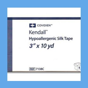 "Covidien (Kendall) Hypoallergenic Silk Tape, 3"" x 10 Yards silk tape, hypoallergenic, Covidien, adhesion"