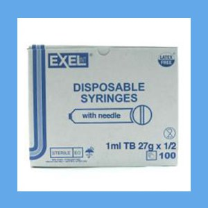 "Exel Syringe with Needles Combo, 1 ml TB 27g x 1/2"" syringes, needles, Exel, disposable, polycarbonate"
