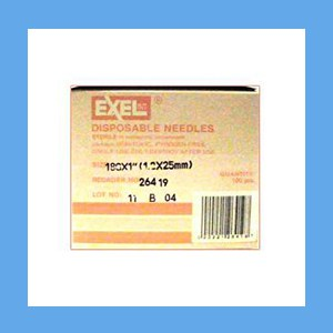 "Exel Needles 18g x 1"" needles, disposable, stainless steel, Exel"