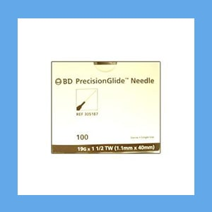 "BD Disposable Needles 19g x 1 1/2"" needles, disposable, stainless steel, BD"