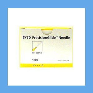 "BD Disposable Needles 20g x 1 1/2"" needles, disposable, stainless steel, BD"
