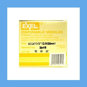 "Exel Needles 20g x 1 1/2"" needles, disposable, stainless steel, Exel"