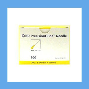 "BD Disposable Needles 20g x 1"" needles, disposable, stainless steel, BD"