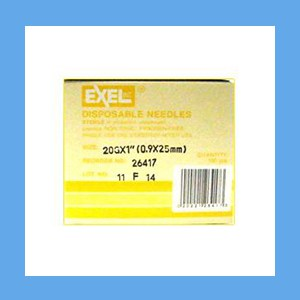 "Exel Needles 20g x 1"" needles, disposable, stainless steel, Exel"