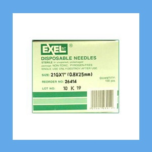 "Exel Needles 21g x 1"" needles, disposable, stainless steel, Exel"