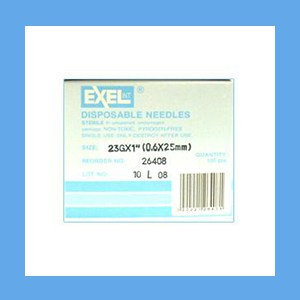 "Exel Needles 23g x 1"" needles, disposable, stainless steel, Exel"