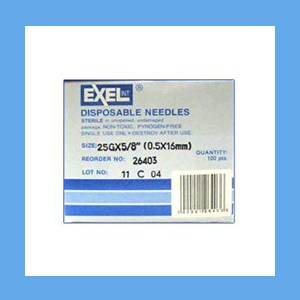"Exel Needles 25g x 5/8"" needles, disposable, stainless steel, Exel"