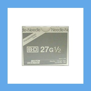 "BD Disposable Needles 27g x 1/2"" needles, disposable, stainless steel, BD"