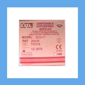 "Exel Needles 30g x 1"" needles, Exel, sterile, stainless steel, latex-free"