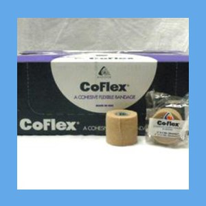 "CoFlex Bandage Tan 2"" latex, bandage, cohesive, light compression wrap"