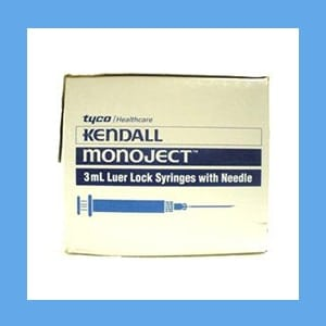 "Monoject Syringe with Needle Combo, 3cc 20g x 1"" syringe, needle, Monoject, combination, sterile"
