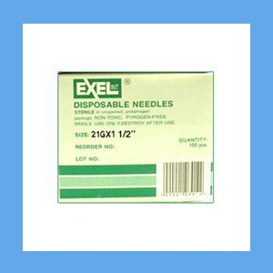 "Exel Needles 21g x 1 1/2"" needles, disposable, stainless steel, Exel"