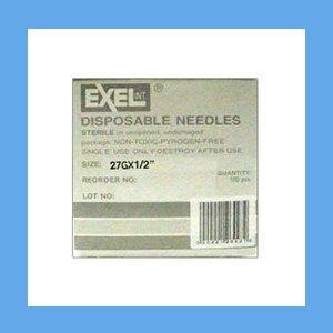"Exel Needles 27g x 1/2"" needles, disposable, stainless steel, Exel"