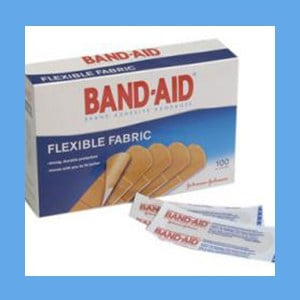 "Johnson and Johnson Band-Aid Flexible Fabric, 1"" x 3"" Strips bandage strips, flexible, fabric, breathable, sterile, latex-free"