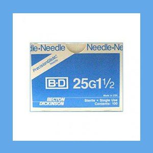 "BD Disposable Needles 25g x 1 1/2"" needles, disposable, stainless steel, BD"