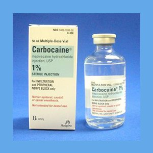 Carbocaine 1% Plain 50ml carbocaine, local anesthetic, 1 % sterile solution, brand of mepivacaine