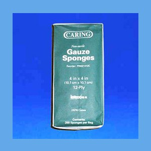 "Gauze Sponges 4"" x 4"", 12 Ply Non-Sterile debriding, prepping, packing, dressing, Gauze Sponges"