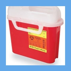 BD Sharps Collector, 5.4 Quart, Side Entry Red sharps collector