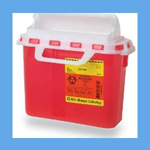 BD Sharps Collector, 5.4 Quart,. Horizontal Red sharps collector