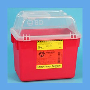 BD Multi-Use Nestable Sharps Collector, 8 Quart Rectangular sharps collector