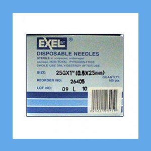 "Exel Needles 25g x 1"" needles, disposable, stainless steel, Exel"