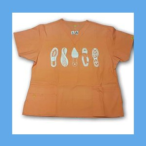 Wonder Wink Scrub Top Shoe Prints II Orange Sherbert (MEDIUM) OVERSTOCK Scrubs Top Shoe Prints II Orange Sherbert