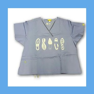 Wonder Wink Scrub Top Shoe Prints II Ceil Blue/Navy Trim OVERSTOCK Scrubs Top Shoe Prints Ceil Blue/Navy Trim