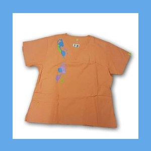 Wonder Wink Scrub Top Artsy Arch Paint Splash Orange Sherbert OVERSTOCK Scrubs Top Artsy Arch Paint Splash Orange Sherbert