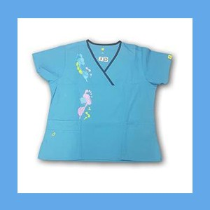 Wonder Wink Scrub Top Artsy Arch Paint Splash Malibu/Navy Trim OVERSTOCK Scrubs Top Artsy Arch Paint Splash Malibu/Navy Trim