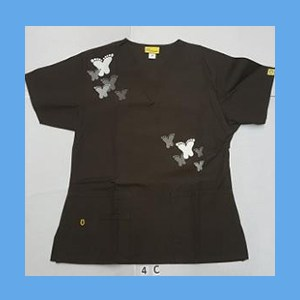 Wonder Wink Scrub Top Artsy Arch Butterfly Chocolate OVERSTOCK Scrubs Top Artsy Arch Butterfly Chocolate