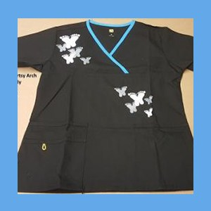 Wonder Wink Scrub Top Artsy Arch Butterfly Black/Malibu Trim OVERSTOCK Scrubs Top Artsy Arch Butterfly Black/Malibu Trim