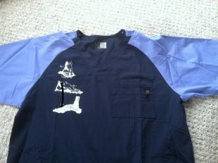 Wonder Wink Scrub Top Heel to Toe Navy/Ceil Blue (Men) OVERSTOCK (2XL) Scrub Top Heel to Toe Navy/Ceil Blue