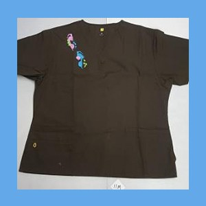 Wonder Wink Scrub Top Artsy Arch Paint Splash Chocolate OVERSTOCK Scrubs Top Artsy Arch Paint Splash Chocolate