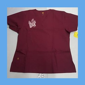 Wonder Wink Scrub Top Sole Mates Wine (LARGE) OVERSTOCK Scrubs Top Sole Mates Wine