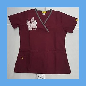 Wonder Wink Scrub Top Sole Mates Wine (X SMALL) OVERSTOCK Scrubs Top Sole Mates Wine