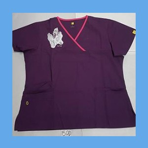 Wonder Wink Scrub Top Sole Mates Eggplant/Hot Pink Trim OVERSTOCK Scrubs Top Sole Mates Eggplant/Hot Pink Trim