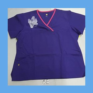 Wonder Wink Scrub Top Sole Mates Grape/Hot Pink Trim OVERSTOCK Scrubs Top Sole Mates Grape/Hot Pink Trim