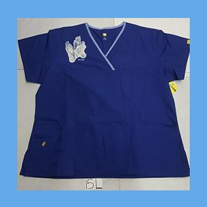 Wonder Wink Scrub Top Sole Mates Galaxy Blue (LARGE) OVERSTOCK Scrubs Top Sole Mates Galaxy Blue
