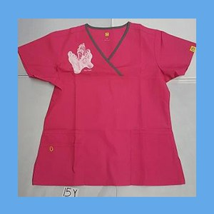 Wonder Wink Scrub Top Sole Mates Hot Pink/Pewter Trim (MEDIUM) OVERSTOCK Scrubs Top Sole Mates Hot Pink/Pewter