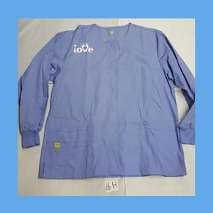 Wonder Wink Scrub Top Feet In Love Ceil Blue (SMALL) OVERSTOCK Scrubs Top Feet In Love Royal