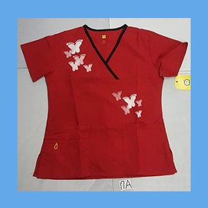 Wonder Wink Scrub Top Artsy Arch Butterfly Red/Black Trim OVERSTOCK Scrubs Top Artsy Arch Butterfly Red/Black Trim