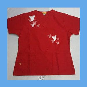 Wonder Wink Scrub Top Artsy Arch Butterfly Red OVERSTOCK Scrubs Top Artsy Arch Butterfly Red