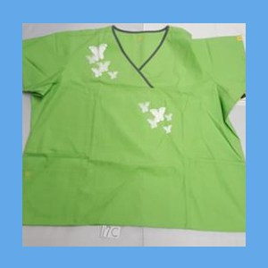 Wonder Wink Scrub Top Artsy Arch Butterfly Green Apple/Pewter Trim OVERSTOCK Scrubs Top Artsy Arch Butterfly Green Apple/Pewter Trim