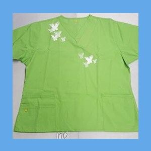 Wonder Wink Scrub Top Artsy Arch Butterfly Green Apple OVERSTOCK Scrubs Top Artsy Arch Butterfly Green Apple