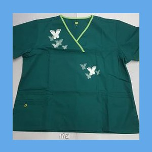 Wonder Wink Scrub Top Artsy Arch Butterfly Hunter Green/Green Apple Trim OVERSTOCK Scrubs Top Artsy Arch Butterfly Hunter Green/Green Apple Trim