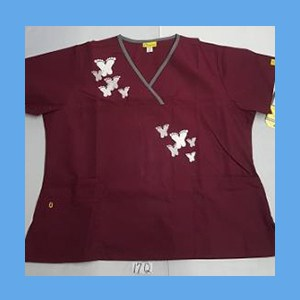 Wonder Wink Scrub Top Artsy Arch Butterfly Wine/Pewter Trim OVERSTOCK Scrubs Top Artsy Arch Butterfly Wine/Pewter Trim