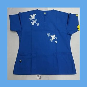 Wonder Wink Scrub Top Artsy Arch Butterfly Royal (MEDIUM) OVERSTOCK Scrubs Top Artsy Arch Butterfly Royal