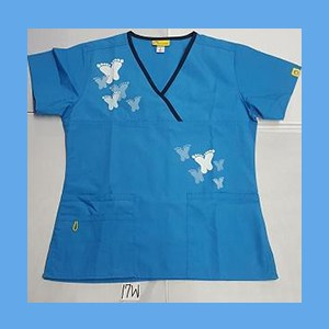 Wonder Wink Scrub Top Artsy Arch Butterfly Malibu/Navy Trim (SMALL) OVERSTOCK Scrubs Top Artsy Arch Butterfly Malibu/Navy Trim